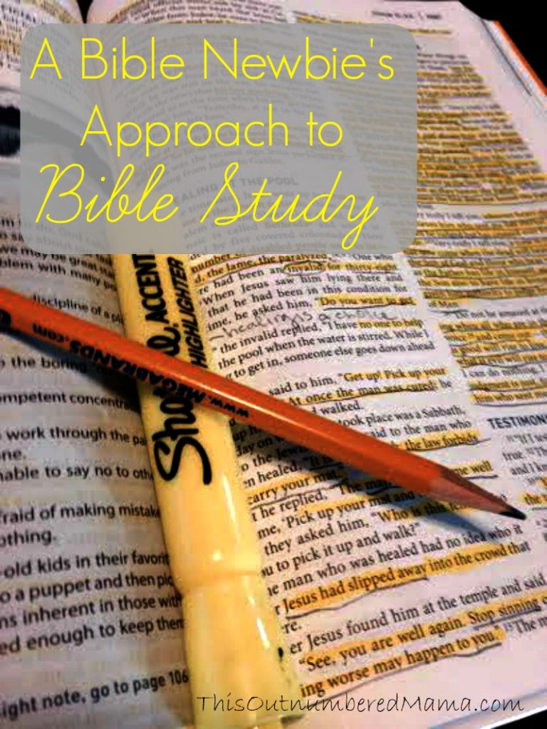 An approach to Bible study for Bible newbies who might be intimidated.