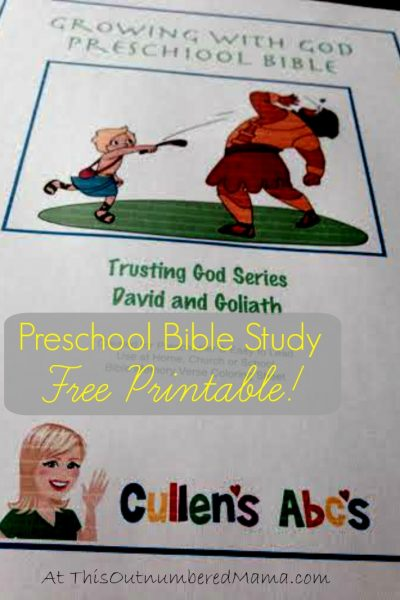 Free Printable Cullen's Abc's David and Goliath Preschool Bible Study