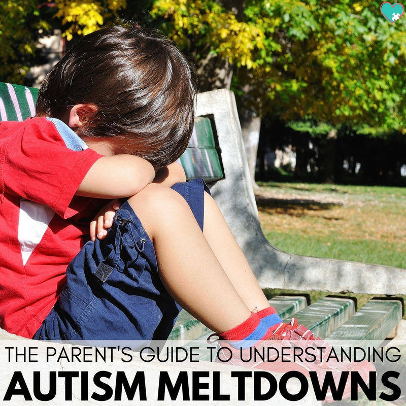 Upset boy sits on a park bench with his arms crossed and head in his arms. Text reads: The Parent's Guide to Understanding Autism Meltdowns