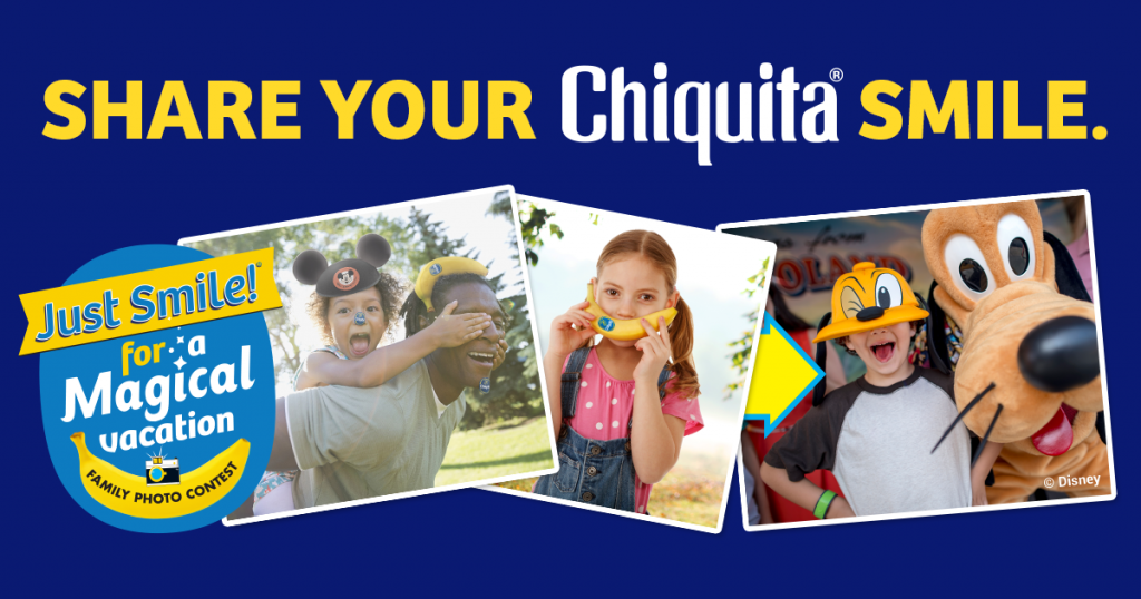 Smile your way to Disney with Chiquita Banana's Share Your Chiquita Smile Contest! Pick up Chiquita Bananas, pose with them, post your picture, and share!