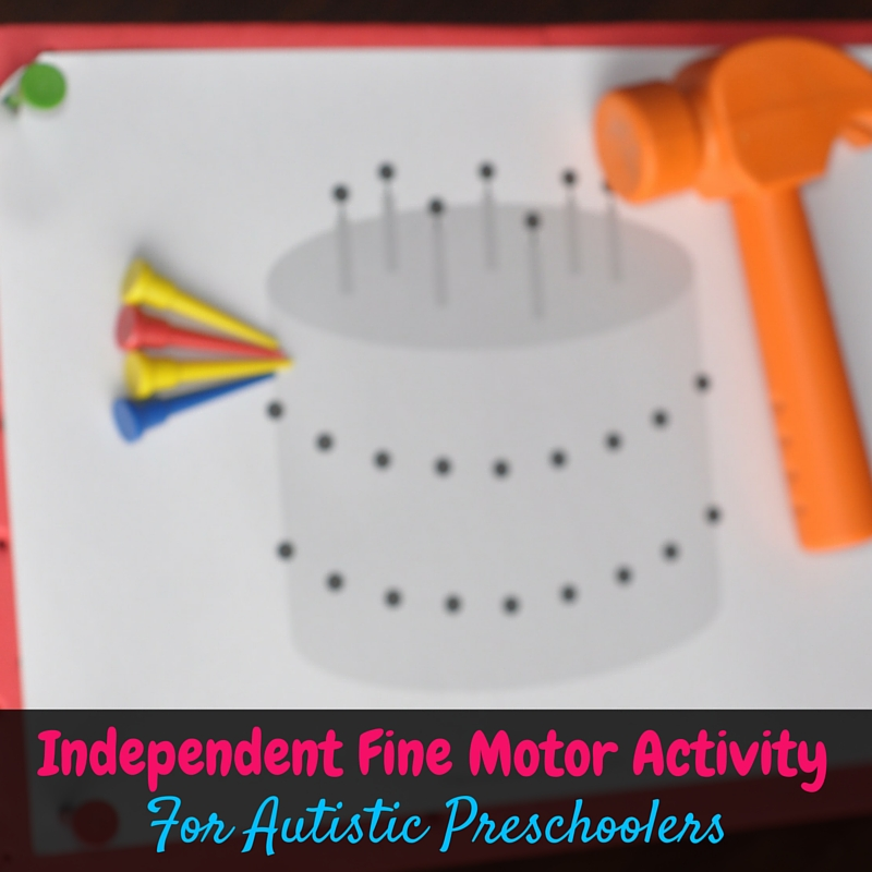 The Fundanoodle I Can Pound Kit is a simple independent fine motor activity for autistic preschoolers that develops their hand strength while they have fun!