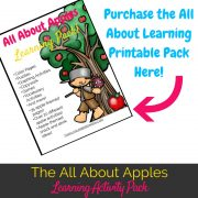 This all about apples learning activity pack is perfect for an apple themed unit study in your homeschool or preschool!