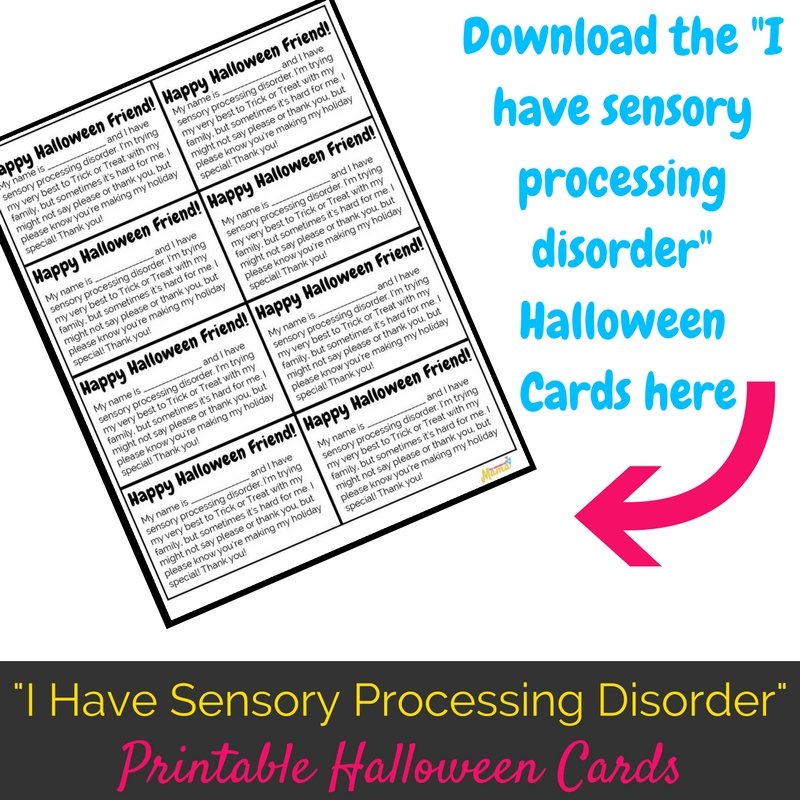 Sensory Processing Disorder Halloween Cards Square