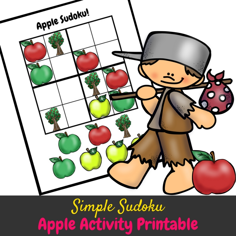 This simple sudoku apple activity is adorable and fun! It's kept simple for younger kids, and it helps get kids started on logic puzzles! It's perfect for an apple preschool unit!