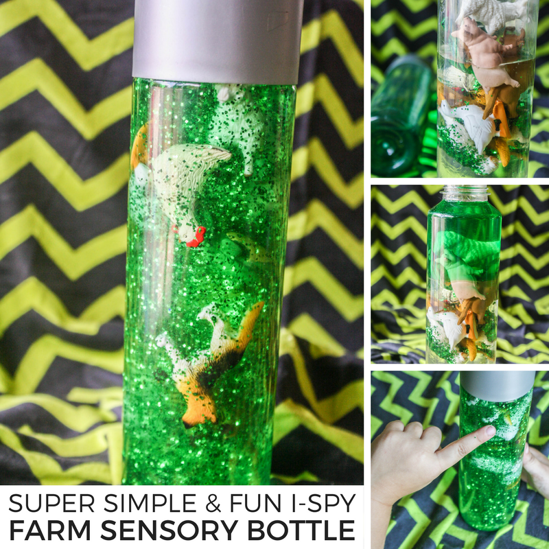 Super Simple and Fun I-Spy Farm Sensory Bottle #ispy #kidsactivity #kidsactivities #farm #sensory #sensorybottle #sensoryplay #ihsnet #funforkids
