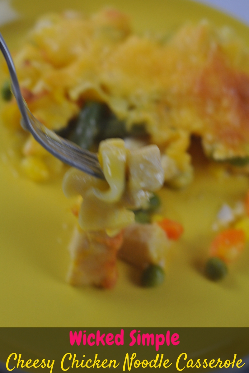 Wicked Simple Cheesy Chicken Noodle Casserole