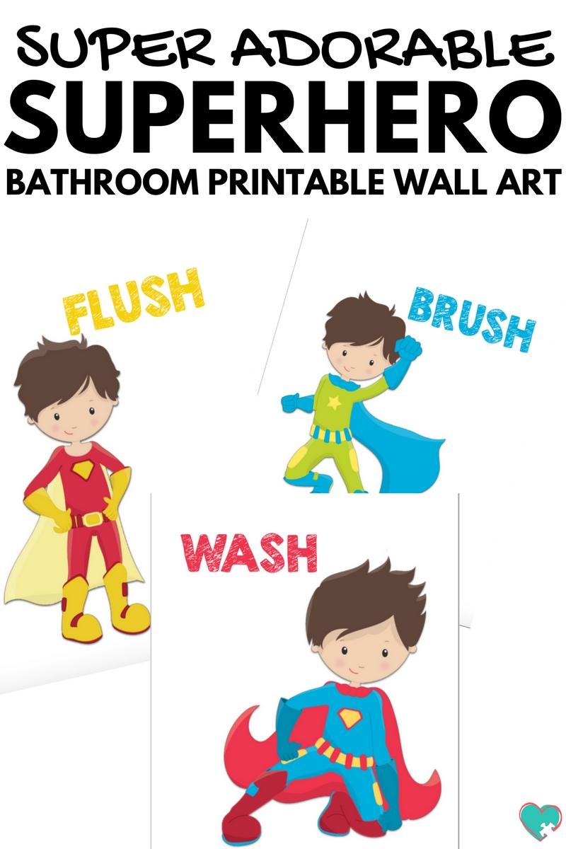 photo regarding Super Hero Printable titled Tremendous Lovable Superhero Lavatory Printable Wall Artwork