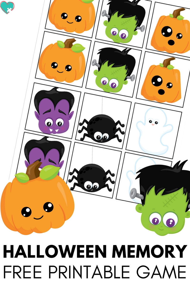 picture about Halloween Printable identified as Cute and Enjoyment Halloween Memory Video game Absolutely free Printable