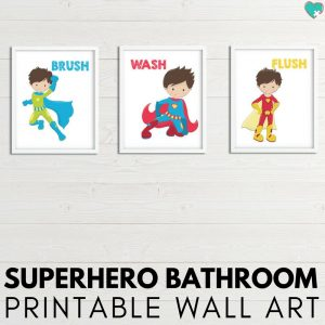Adorable superhero bathroom printable wall art for a superhero-themed bathroom! Totally adorable superhero printables!
