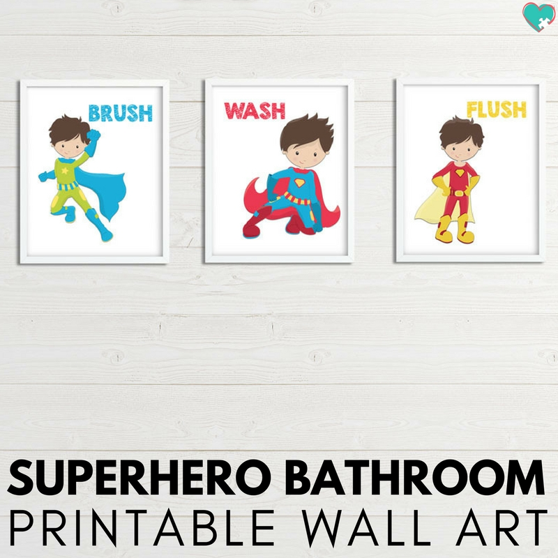 Adorable superhero bathroom printable wall art for a superhero-themed bathroom! Totally adorable superhero printables!