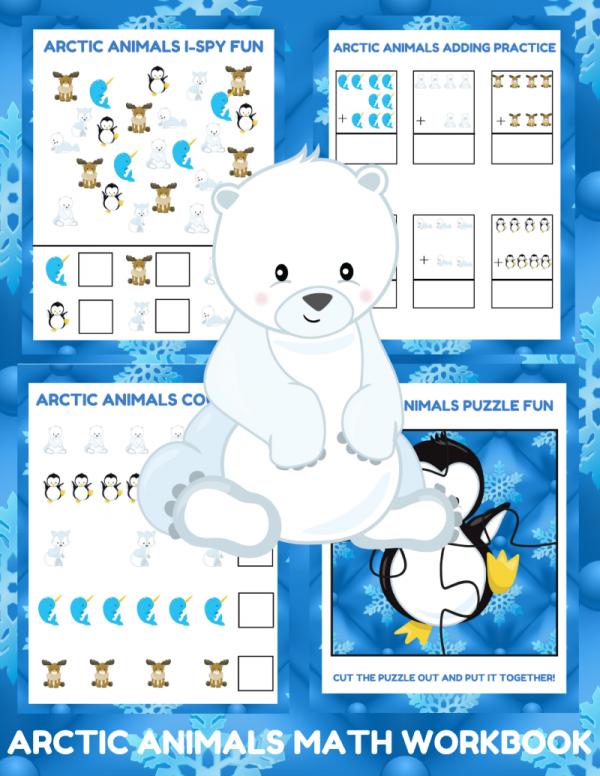 Arctic Animals Math Activities - 5-day Preschool Math Workbook for Arctic Animal Unit Studies