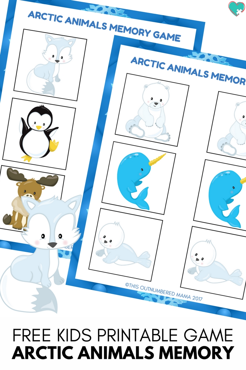 arctic animals memory game free preschool printable for arctic animal unit studies