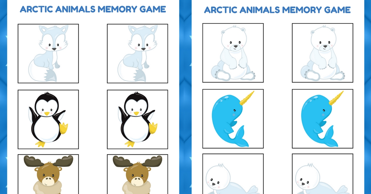 photograph about Animal Matching Game Printable identify Arctic Pets Memory Sport Totally free Preschool Printable for