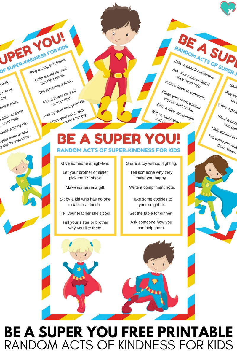 Be a Super You Random Acts of Kindness for Kids Printable