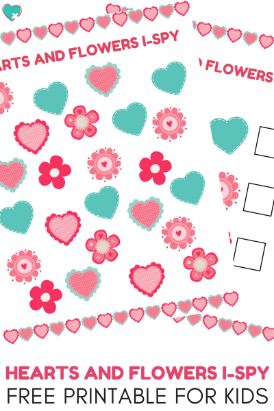 Super Fun Hearts and Flowers I-Spy Free Printable for Kids
