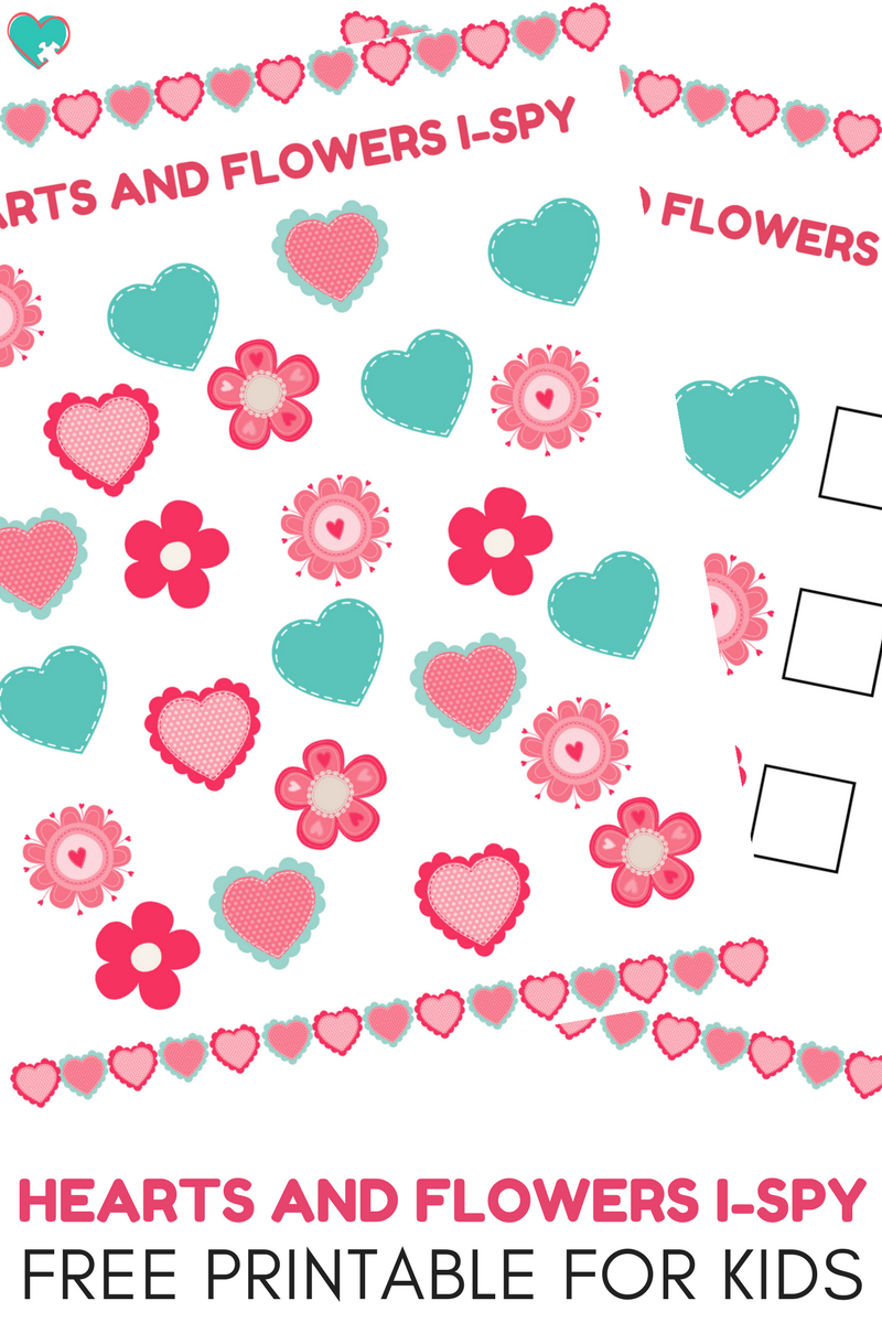 image about Free Printable Flowers identified as Tremendous Exciting Hearts and Bouquets I-Spy No cost Printable for Children