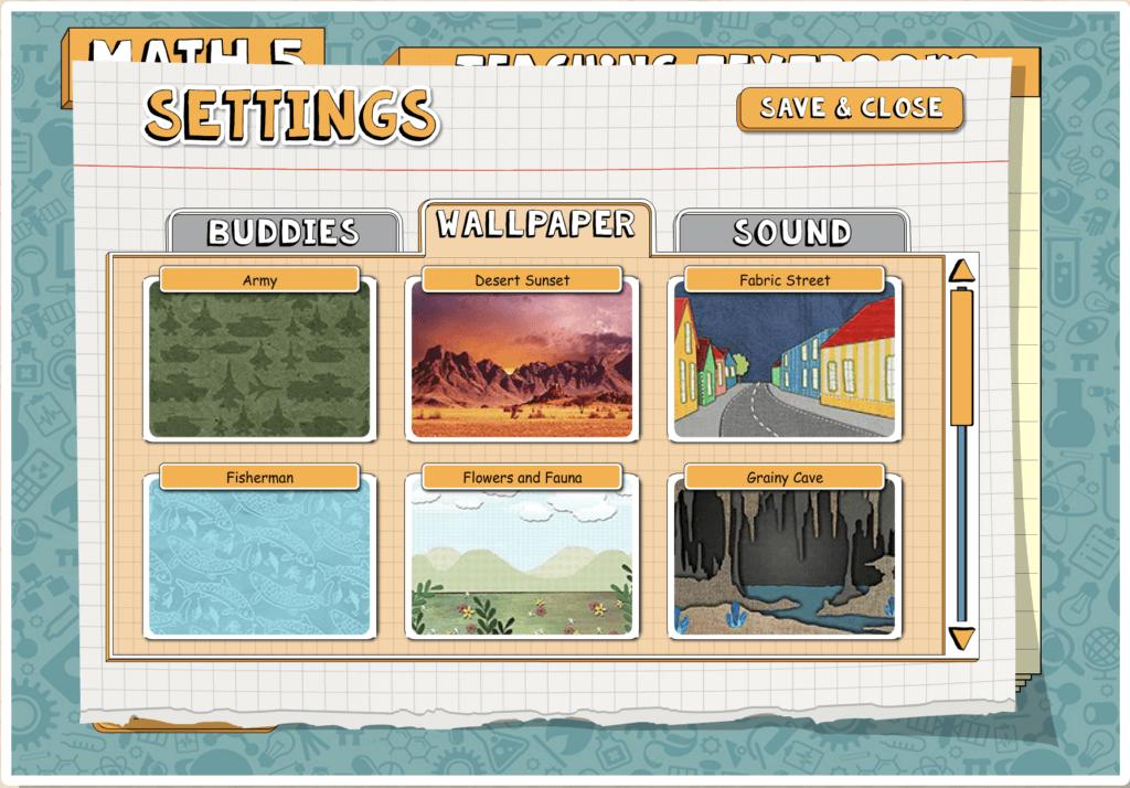 Screen Shot of Teaching Textbooks 3.0 Wallpaper Settings