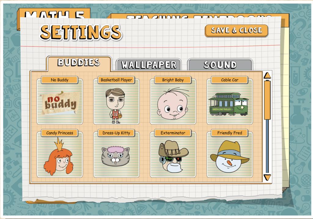 Screen Shot of Teaching Textbooks 3.0 Settings Where You Can Choose Buddies