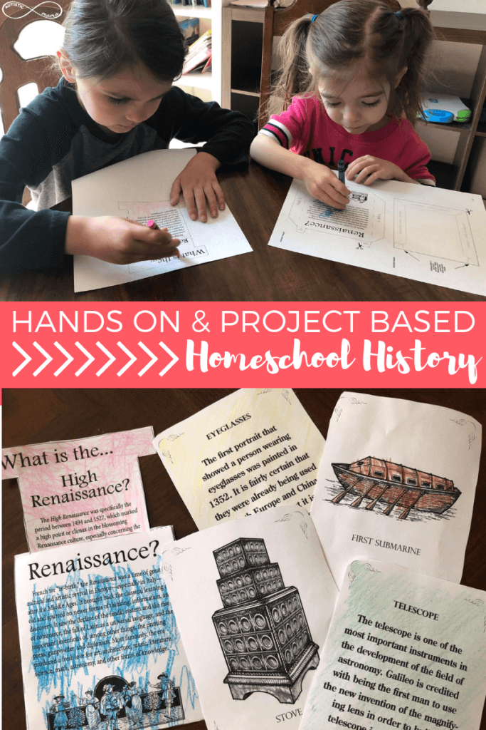 Image of two boys coloring. Text reads: Hands On & Project Based Homeschool History. Image of completed history projects.