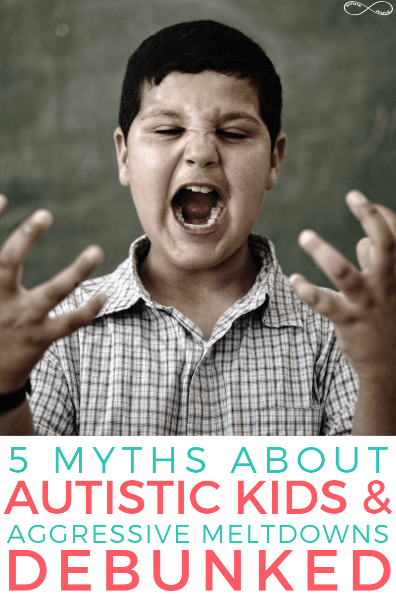 "Angry child faces camera and is shouting. Text at the bottom reads: ""5 Myths About Autistic Kids & Aggressive Meltdowns Debunked"". White Autistic Mama Logo in top right corner."