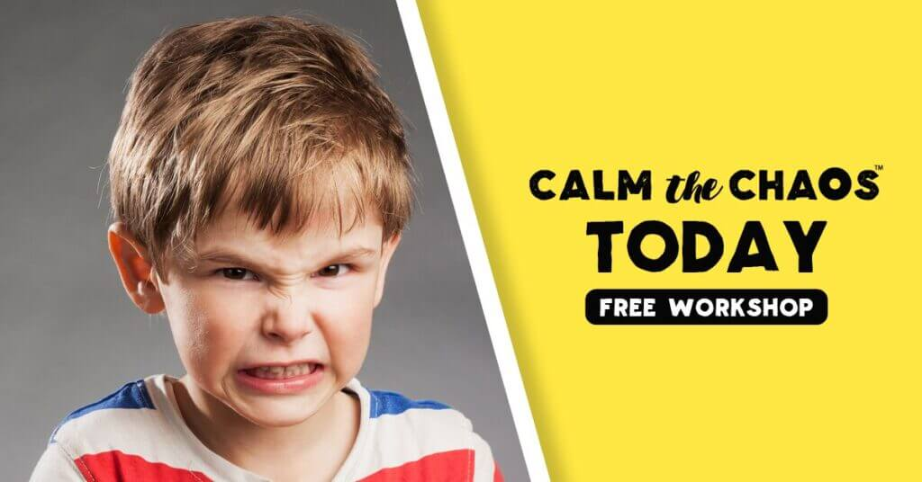 "Angry looking child faces camera. To the side, text reads: ""Calm the Chaos Today Free Workshop"""