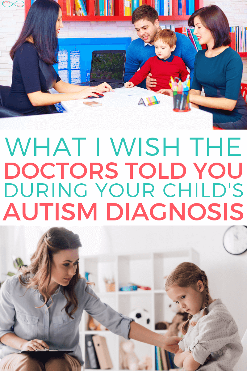 "Long vertical image. Top half is an image with a woman sitting at a desk across from a woman, man, and child. In the center, coral and teal text reads: ""what I wish doctors told you during your child's autism diagnosis"" on a white background. At the bottom, an image of a woman sitting with a clipboard in her lap, with her hand on the arm of a young girl in pig tails who looks sad or shy."
