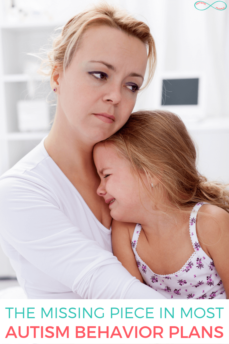 Woman holds crying child. Teal and coral text reads: The Missing Piece in Most Autism Behavior Plans. Teal and coral Autistic Mama infinity logo in the top right corner.