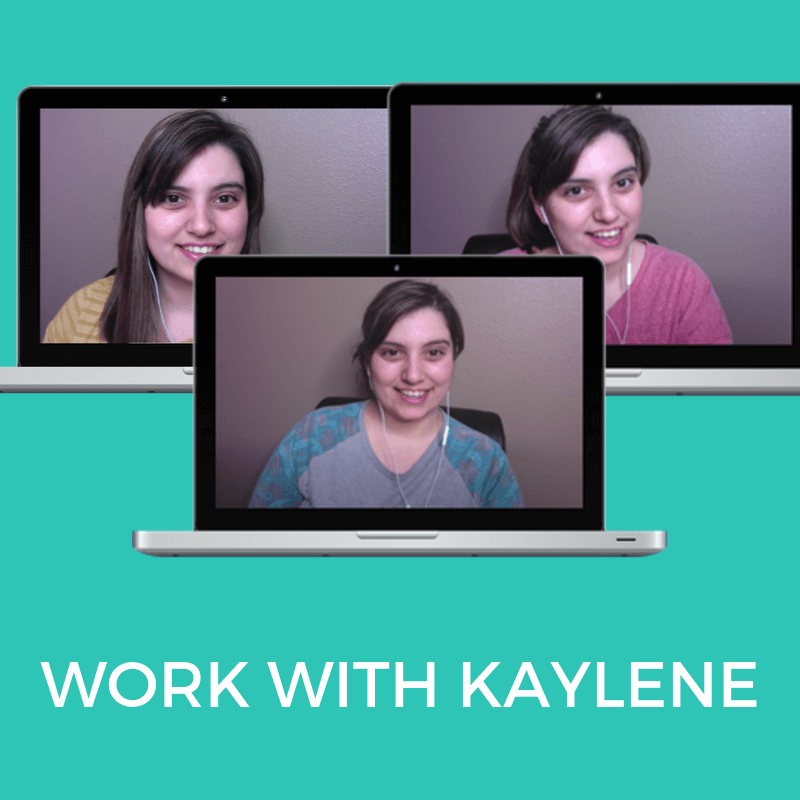 Work With Kaylene | Teal background with white text that reads: Work With Kaylene. Images of Kaylene coaching on a laptop.