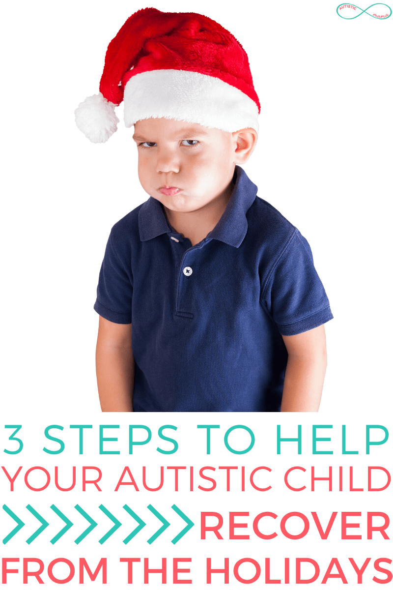 Angry boy in a santa hat and a blue shirt looks at the camera angrily. Text reads: 3 Steps to Help Your Autistic Child Recover From the Holidays