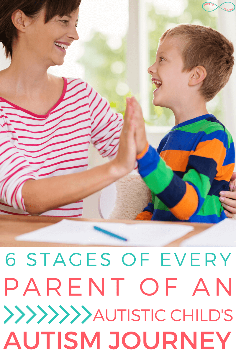 Woman and child smile at each other while high fiving and sitting at a table. Text reads: 6 Stages of Every Parent of an Autistic Child's Autism Journey
