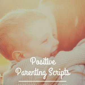 "Cover of Positive Parenting Scripts book. Boy hugs his mother with a smile on his face overlayed by a sunset color tone. Text reads: ""Kaylene George 