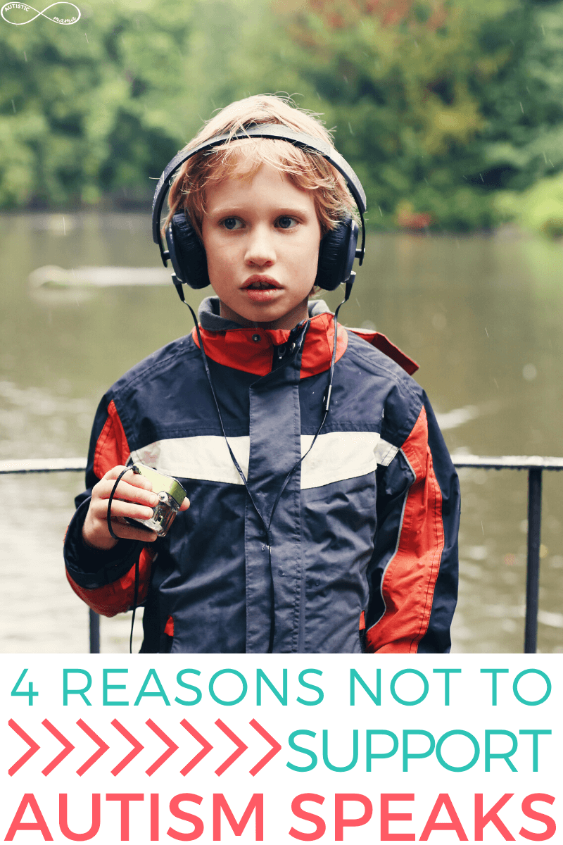 "Boy stands in front of water with headphones on. Text Reads: ""4 Reasons Not to Support Autism Speaks"""