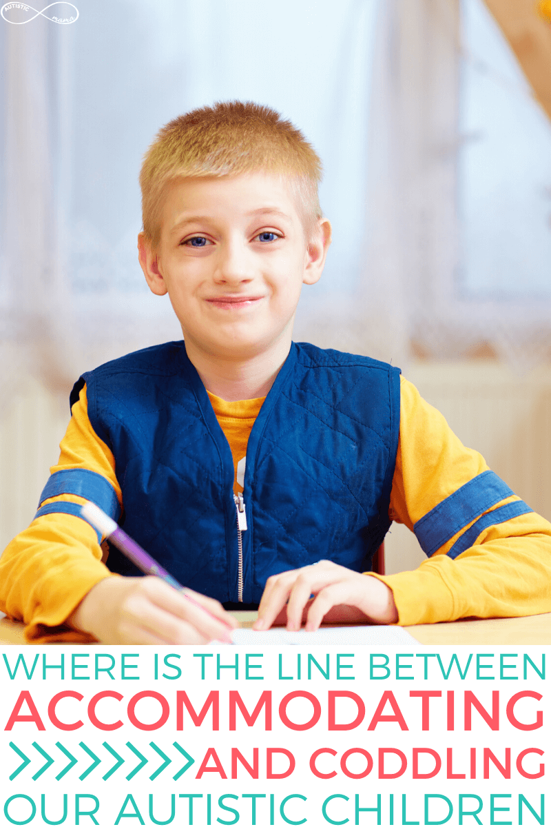 Blond boy smiles at the camera while wearing a vest and sitting at a desk writing with a pencil. Text reads: Where is the line between accommodating and coddling our Autistic children.