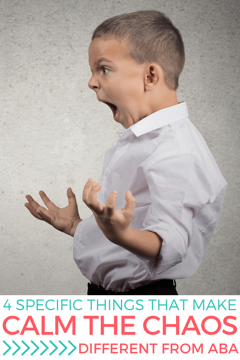 Angry child yelling. Text reads: 4 Specific Things That Make Calm the Chaos Different From ABA