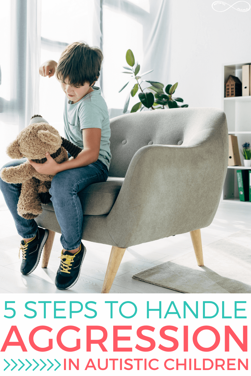 Young boy sits in a chair punching a teddy bear he is holding. Text reads: 5 Steps to Handle Aggression in Autistic Children.
