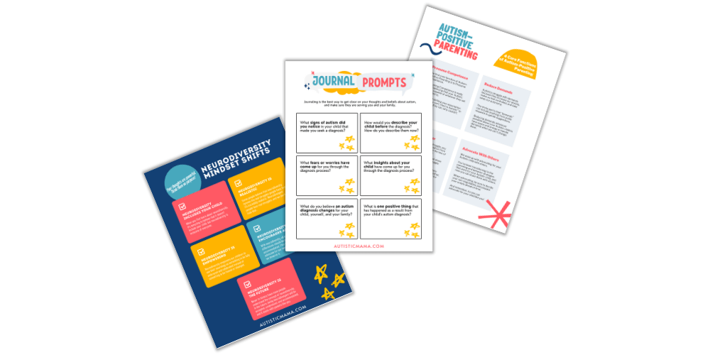 Screenshot of three Autism Diagnosis Posters from Autistic Mama