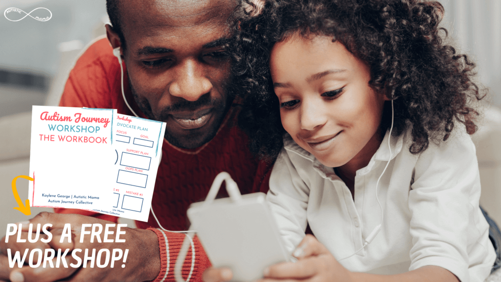 Dad and daughter sit near each other holding a device with headphones plugged in. On top of the main image, there's an image of a workbook and text reads: Plus a Free Workshop!